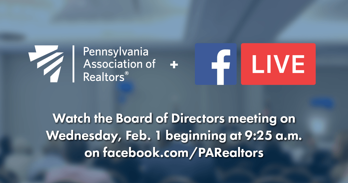 Watch the Board of Directors meeting live on Facebook.